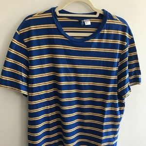 H&M Men's Blue and Yellow Stripes T-Shirt